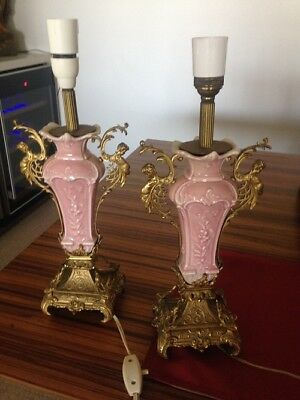 Pair Ceramic and Brass Vintage Pink Cherub Lamps