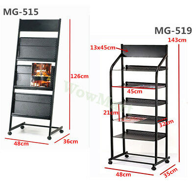 New Freestanding Magazine Newspaper Stand Brochure Holder Storage Display Rack