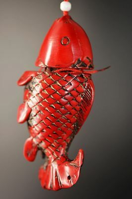 Chinese High imitation Red Coral carve *fish* Lucky pendant   F35
