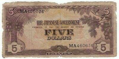 1942 Malaya Japanese Occupation $5 with Serial Numbers - Rare