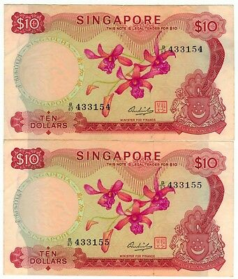 2x 1975 Singapore $10 Consecutive Numbers - Crisp Great Condition - Cheap