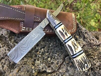 "HUNTEX Handmade Damascus 6.7"" Deer Antler French Bladed CutThroat Shaving Razor"