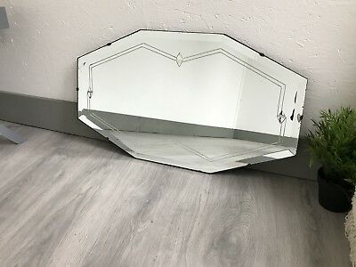 vintage Mirror art deco beveled edged frameless wall mirror with Etched Design