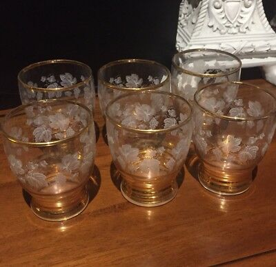Set of Six Sherry / Port Glasses Grape Leave Etched With Gold Trim
