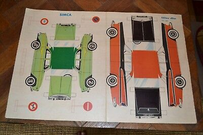Superb 1960s vintage Simca card cutout model toy cars complete Editions Alban