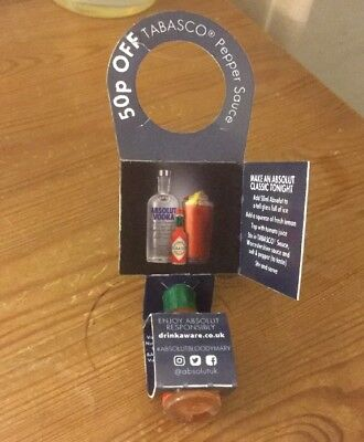 Absolut Vodka Bloody Mary Miniature Tabasco Bottle Neck Tag