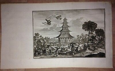 INDONESIA JAVA JEPARA by WOUTER SCHOUTEN 1676 NICE ANTIQUE COPPER ENGRAVED VIEW
