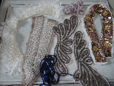 Vintage beaded collars trimmings and braid for sewing projects good condition