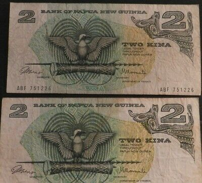 2 X Papua New Guinea 2 Kina Notes In Good Condition