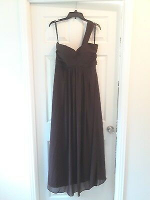 BILL LEVKOFF Bridesmaid Dress in Chocolate brown, Size 12, one shoulder gown