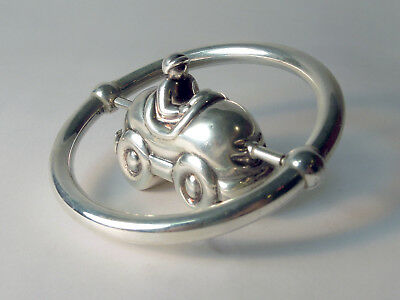 Tiffany & Co. Sterling Silver Rattle Spinning Vintage Classic Race Car and Drive