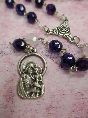 St. Saint Joseph Chaplet (8 mm Faceted Plum Purple and White Glass Beads)