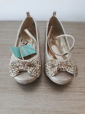 Girls Monsoon Gold Sparkly Party Shoes - Size 10
