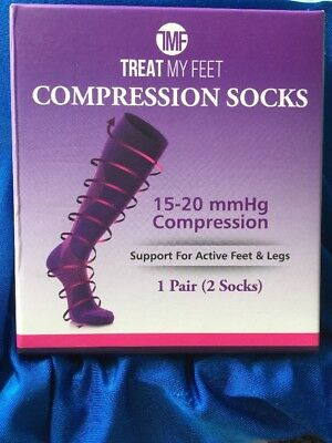 Treat My Feet Compression Socks Unisex Knee High Stocking Purple Size Xtra Large
