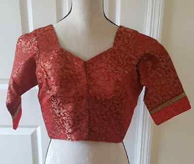 New Stitches Ready Made Red Brocade Saree Blouse Ready to Wear.