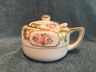 "Nippon Hand Painted Sugar Bowl with Lid And Spoon Floral Pattern VINTAGE 3"" Tall"