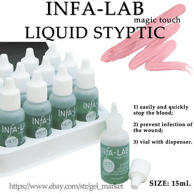 INFA-LAB Hemostatic LIQUID STYPTIC For Manicure / pedicure 15ml antiseptic drops