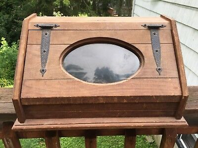 Vintage Wooden Wood Country Counter Top Bread Box With Plexi Glass Door