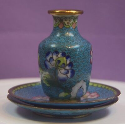 A Vintage Japanese Cloisonee Small Vase And 2 Dishes