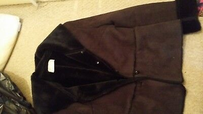 Black suede look precis jacket coat ladies small women's petition size 8 10