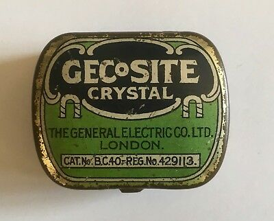 Gecosite Crystal Tin with Crystal by Gecophone 1920s Early Vintage Radio