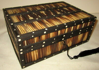 SUPERB ANTIQUE EBONY & PORCUPINE QUILL BOX with key