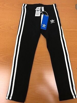 New Girl's Adidas J 3Str Leggings, Cd8411, Black/white, Assorted Sizes, $32.00