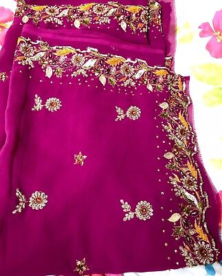 Indian Women party wear Georgette magenta pink saree with blouse M size