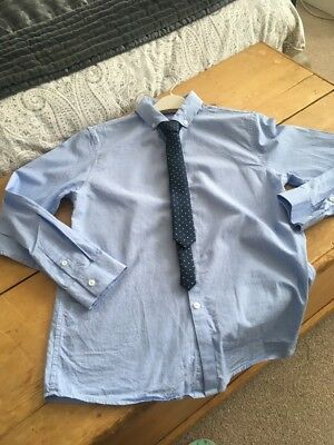 Next Boys Smart Blue Shirt & Tie Size 11 Years