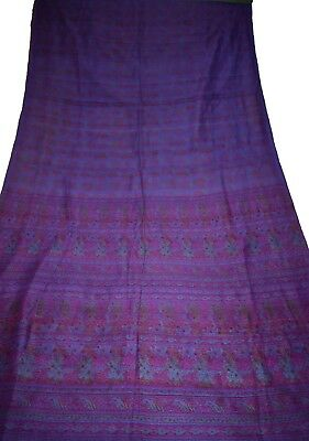 Vintage Printed Saree Pure Silk Fabric Sari Purple Floral Print Design Fabric