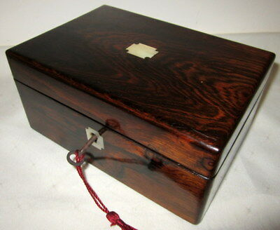 LOVELY SMALL VICTORIAN ROSEWOOD & MOTHER OF PEARL BOX with key