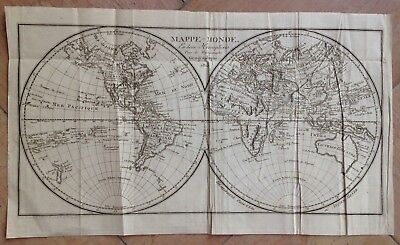 WORLD MAP DATED 1813 BY DROUET XIXe CENTURY ANTIQUE COPPER ENGRAVED MAP