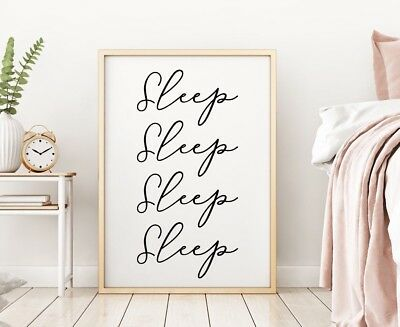 Sleep Bedroom Decor Sign Gallery Wall Art Poster Print Black Baby Nursery Gift