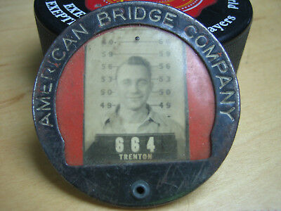 American Bridge Company metal worker ID Badge Pin Button with Picture TRENTON