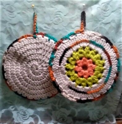 Crocheted pair of Autumn double sided hot pads