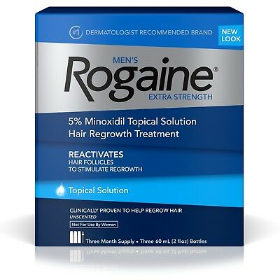 Rogaine For Men  Minoxidil Solution 5% Hair Loss Regrowth : 1 - 12 Month Supply
