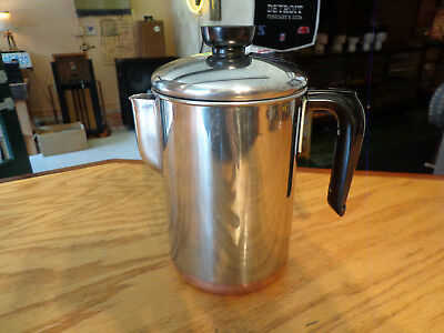 Vintage Revere Ware Water Pitcher With Lid--Excellent--Stainless/copper