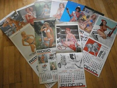 VINTAGE 10 RIDGID TOOL ADVERTISING CALENDAR-Bikini Babes/Pin Ups & Tools  set#1
