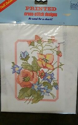 Printed Cross Stitch Kit - Floral