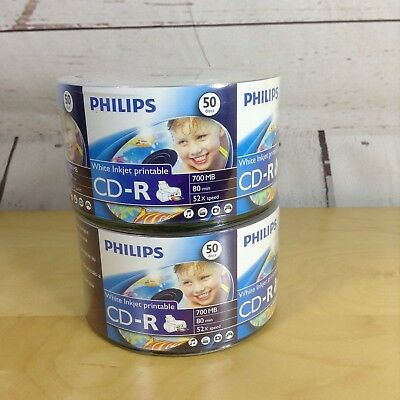 Philips CD-R White Printable 50 Disc 700 MP 80 Min 2 Count Recordable Media