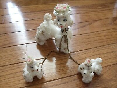 Vintage MOTHER POODLE 2 PUPS ON CHAINS Spaghetti Japan DAMAGED