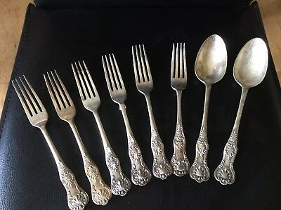 Antique Regency Silver Metal Crested Spoons And Forks