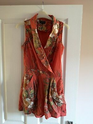 Coral Floral Jumpsuit Topshop Size 8 Summer Holiday
