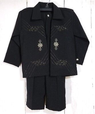Toddler Boys Size 4T Black with Gold Pinstripe 2-piece Pant Suit