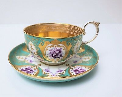 19th c Antique French Sevres Porcelain Cup & Saucer Gold w Purple Flowers