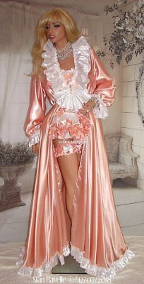 Sian Ravelle LUXURY Designer Peach White Satin Dressing Gown Sissy Glam Robe