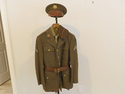 WWII US Army Named 91st Divison Early 4 Pocket Uniform Grouping, Shirt, Pants,