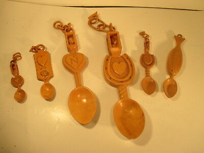 Collection Of Vintage Hand Carved Wooden Welsh Loving Spoon