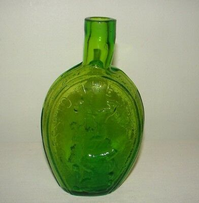 Vintage Success to the Railroad Historical Flask Reproduction Green Quirky Spout