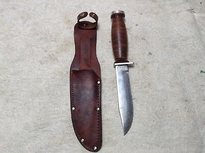 Vintage Schrade-Walden H-15 Fixed Blade Knife and Sheath